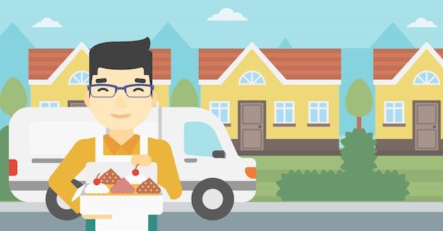 Panettiere che consegna l'illustrazione di vettore delle torte.