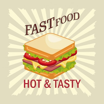 Panino design fast food isolato