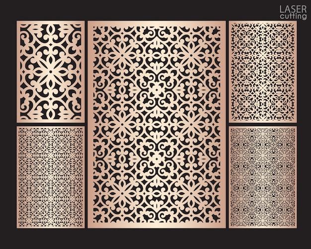 Pannelli ornamentali tagliati al laser con motivo, modello per il taglio. design in metallo, scultura in legno.