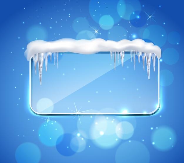 Pannello di vetro con ghiaccioli realistico