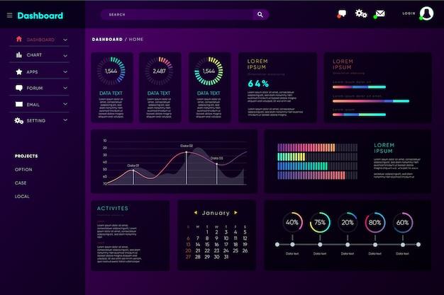 Pannello utente dashboard infografica