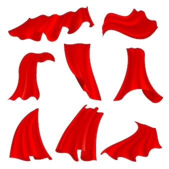 Panno di raso rosso fluttuante realistico isolato su trasparente
