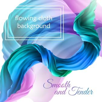 Panno multicolore volante realistico 3d. tessuto di raso che scorre, textil di velluto decorativo astratto