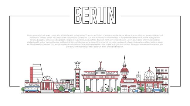 Panorama del punto di riferimento di berlino in stile lineare