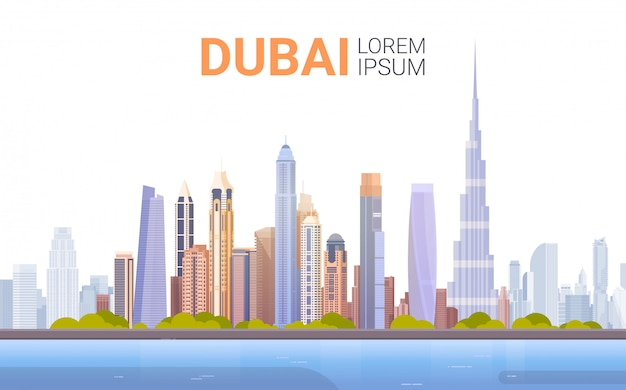 Panorama dell'orizzonte del dubai, viaggio d'affari di paesaggio urbano della costruzione moderna e concetto di turismo