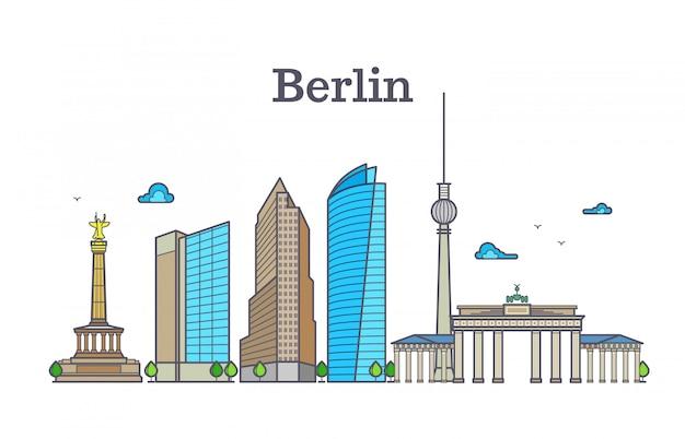 Panorama dell'orizzonte della siluetta di berlino, illustrazione di vettore del paesaggio della città