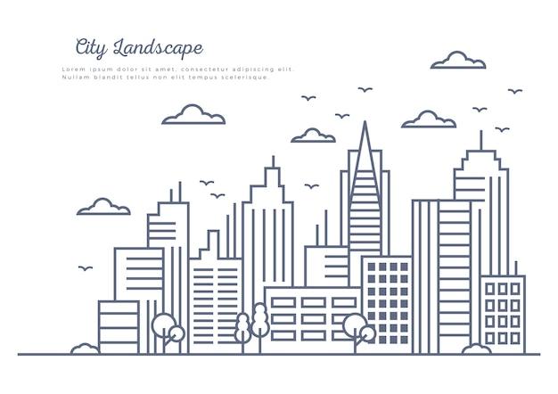 Panorama della città in stile linea sottile