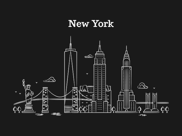 Panorama di new york lineare bianco con ponti