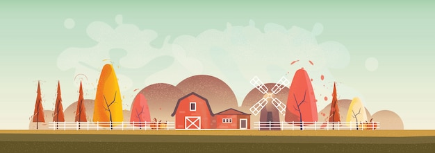 Panorama illustrazione vettoriale del paesaggio di campagna in autunno