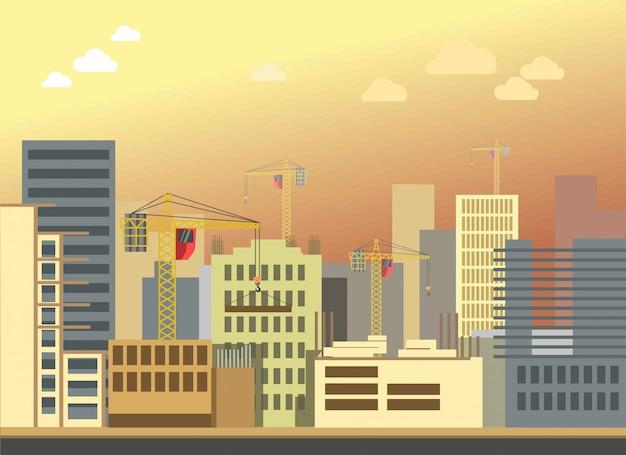 Panorama moderno piano di vettore del paesaggio della costruzione della costruzione della città