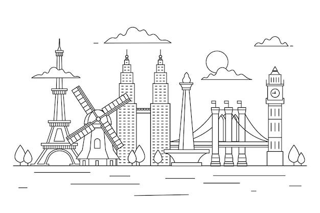 Panorama sullo skyline di punti di riferimento di contorno