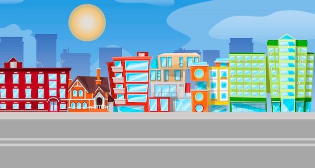 Panorama urbano piatto del fumetto, paesaggio urbano con diversi edifici della città