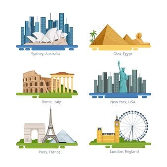 Panorami di città diversi con monumenti famosi. set di illustrazioni vettoriali. famoso punto di riferimento per i viaggi