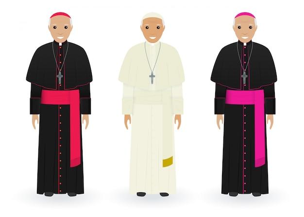 Papa, cardinale e vescovo in abiti caratteristici su bianco. sacerdoti cattolici. persone di religione.