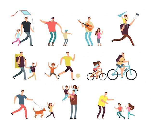 Papà che gioca con bambini felici. vettore dei personaggi dei cartoni animati della gente relativa di giorno di padri e di paternità isolato