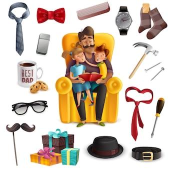 Papà e bambini che leggono insieme un libro circondato da accessori maschili