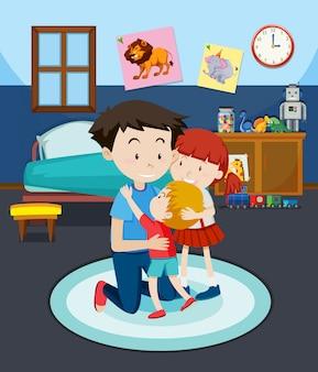 Papà e bambini nella camera da letto