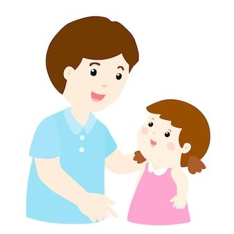 Papà parla con sua figlia delicatamente cartoon
