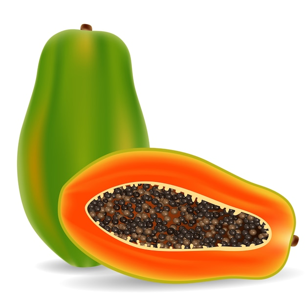 Papaia fresca isolata su fondo bianco