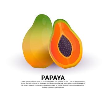 Papaia su sfondo bianco, stile di vita sano o concetto di dieta, logo per frutta fresca