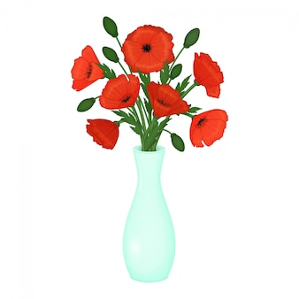Papaveri rossi in un vaso. fiori su uno sfondo bianco. illustrazione.