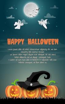 Paper art halloween, jack o'lantern e fantasma nella foresta