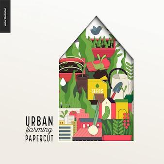 Papercut - casa colorata a strati sull'agricoltura urbana