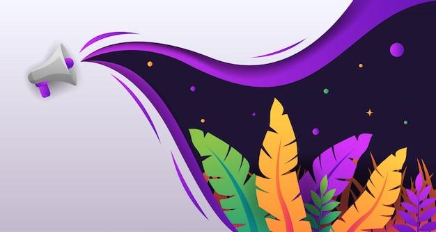 Papercut colorato tropicale con disegno di sfondo dell'altoparlante
