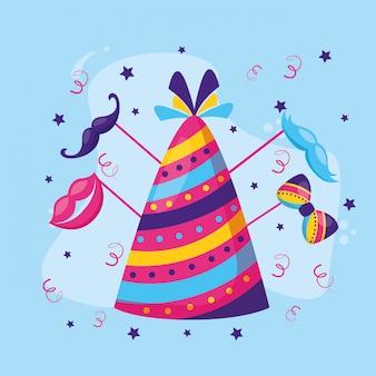 Papillon da festa con cappello di carnevale