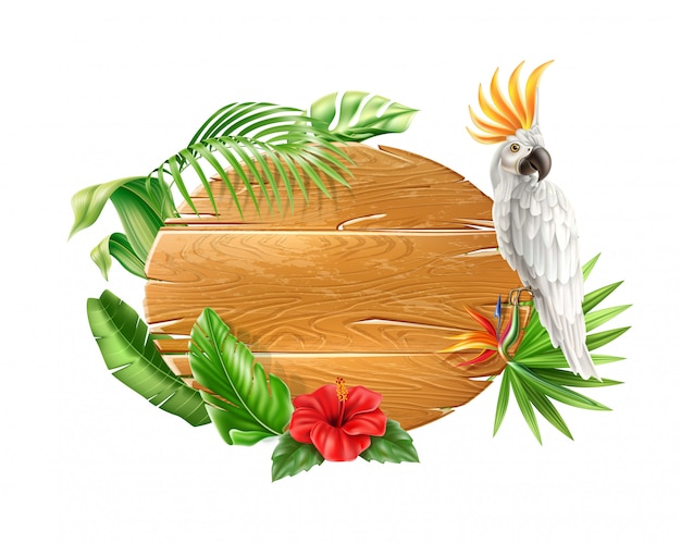 Pappagallo cacatoo bianco realistico seduto al cartello in legno con fiori e foglie tropicali. esotici