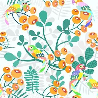 Pappagallo e fiori d'arancio con motivo a foglie verdi senza soluzione di continuità.