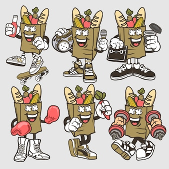 Papper bag set di personaggi dei cartoni animati