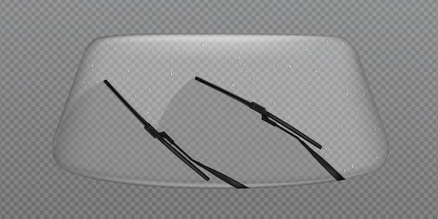 Parabrezza pulito tergicristallo dell'auto, parabrezza in vetro con gocce di pioggia