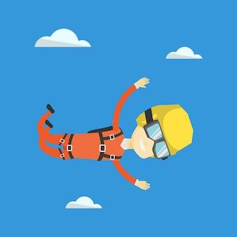 Paracadutista asiatico che salta con il paracadute.