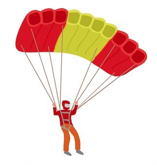 Paracadutista. paracadutista con un paracadute su sfondo bianco, paracadutismo uomo in cielo, paracadute lifestyle attività ricreative e avventura persone. illustrazione
