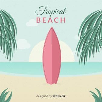 Paradise spiaggia tropicale con design piatto