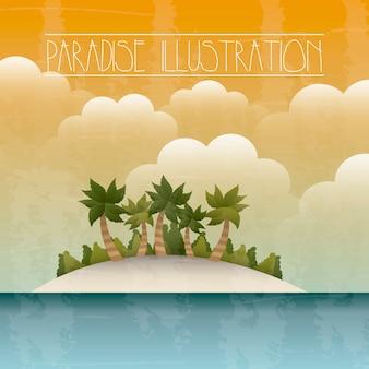 Paradiso con isola e mare sfondo illustrazione vettoriale