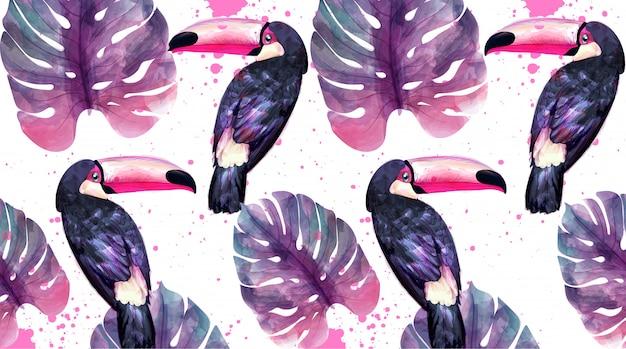Paradiso tropicale con pappagalli dell'acquerello e foglie di palma