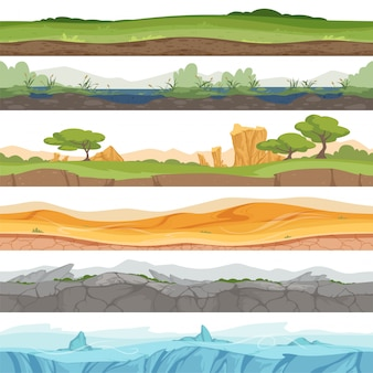 Parallax terreno senza soluzione di continuità. fumetto della roccia della sporcizia del deserto dell'acqua dell'erba ghiacciata del paesaggio del gioco