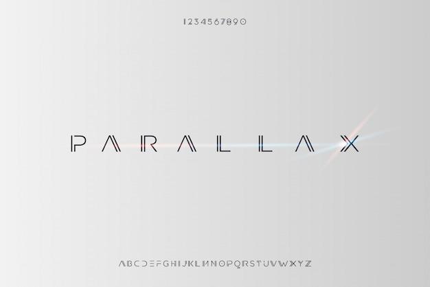 Parallax, un carattere astratto futuristico alfabeto con tema tecnologico. moderno design tipografico minimalista