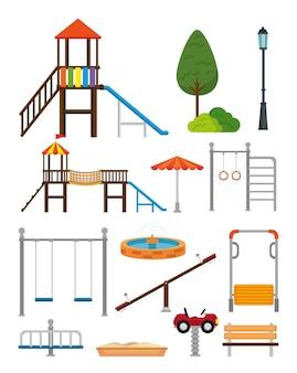 Parcheggi con progettazione dell'illustrazione di vettore di scena di zona del bambino