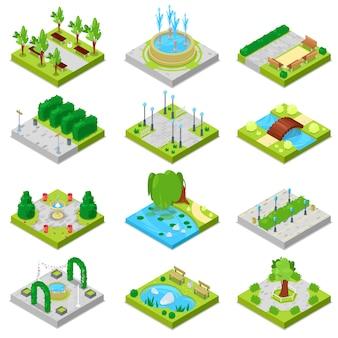 Parcheggi il paesaggio del parco con gli alberi del giardino e la fontana o lo stagno verdi nell'insieme dell'illustrazione della città della strada panoramica isometrica nel paesaggio urbano isolato su fondo bianco