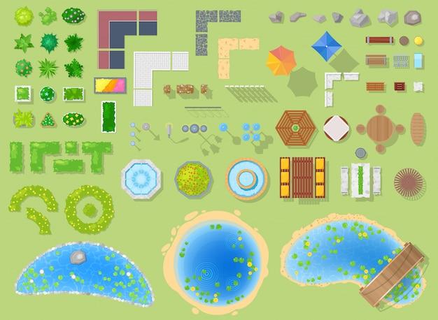 Parcheggi il paesaggio del parco con gli alberi del giardino e la fontana o lo stagno verdi nell'insieme dell'illustrazione della città della strada panoramica nel paesaggio urbano su fondo