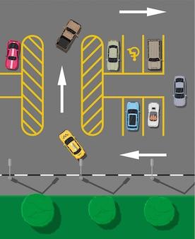 Parcheggio cittadino con diverse macchine