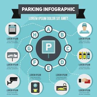 Parcheggio concetto infografica, stile piano