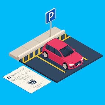 Parcheggio di trasporto isometrico. biglietto del parcheggio dell'entrata, illustrazione urbana del garage dell'automobile della città
