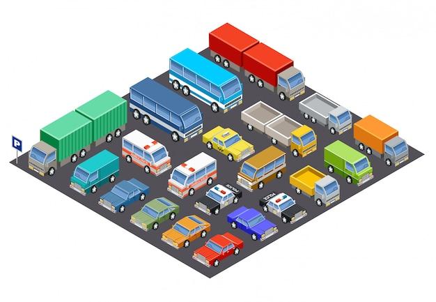 Parcheggio isometrico pieno di automobili.