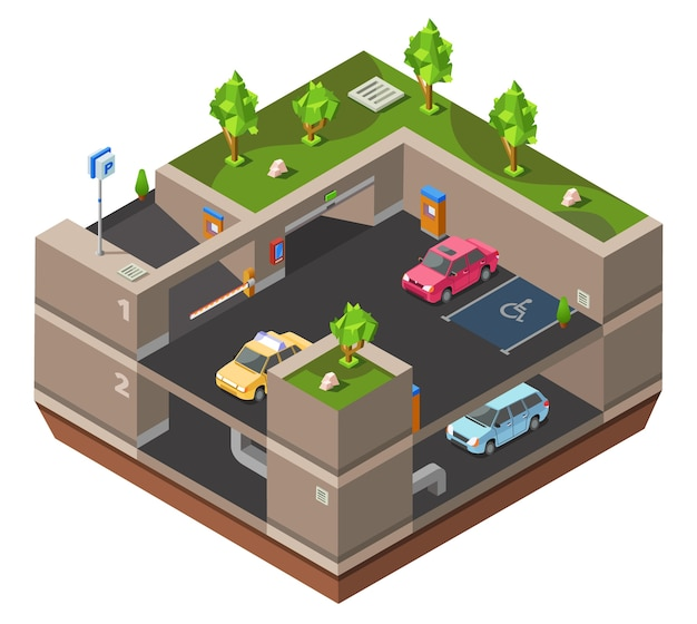 Parcheggio multipiano sotterraneo 3d isometrico per la costruzione