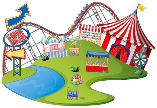 Parco a tema della fiera di divertimento su fondo isolato