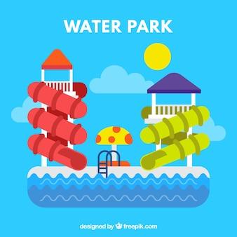 Parco acquatico piacevole in design piatto